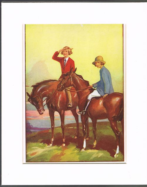 Image for Taking a Breather (Mounted Book Plate of Horses/Ponies from 'The Schoolgirls' Book')