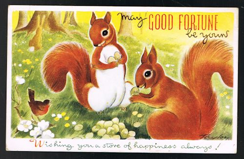 Image for Good Fortune Squirrels - Play-Time Pets Series Postcard