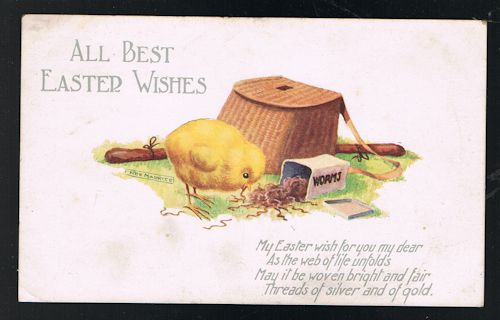 Image for Easter Greetings Postcard - Chick & Fishing Bag Worms