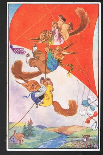 Image for The Squirrelquins Flying Their Kite Postcard