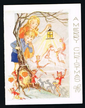 Image for Christmas Greetings Card - Pixies & Lanterns