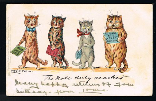 Image for The Note Duly Reached Write Away Cat Postcard