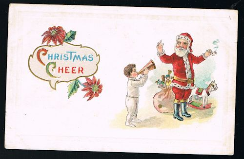 Image for Embossed Father Christmas, Pipe, Child & Bugle Xmas Greetings Postcard