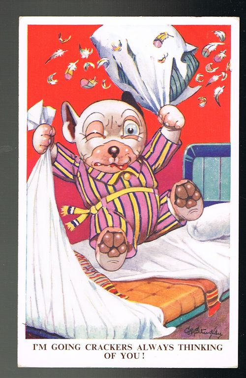 Image for I'm Going Crackers Always Thinking of You Bonzo Postcard