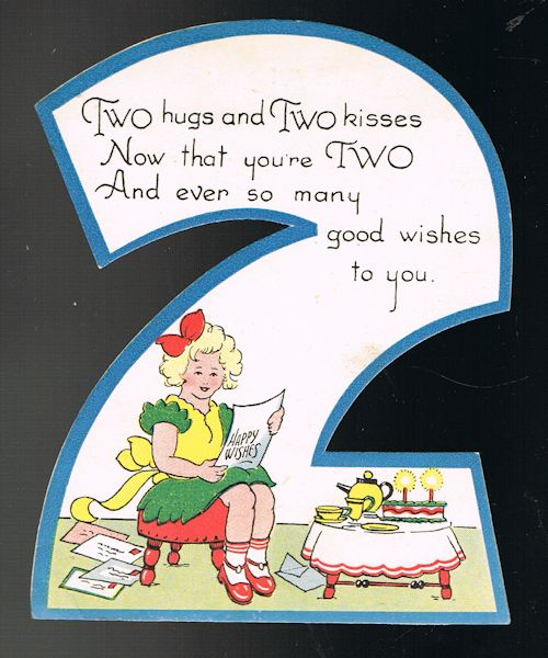 Image for Vintage Shaped 2nd Birthday Greetings Card