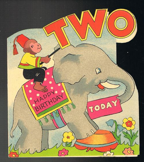 Image for Vintage Shaped Elephant & Monkey 2nd Birthday Greetings Card