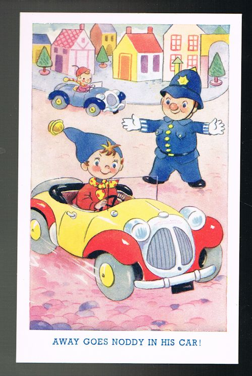 Image for Away Goes Noddy in His Car! - Noddy Postcard