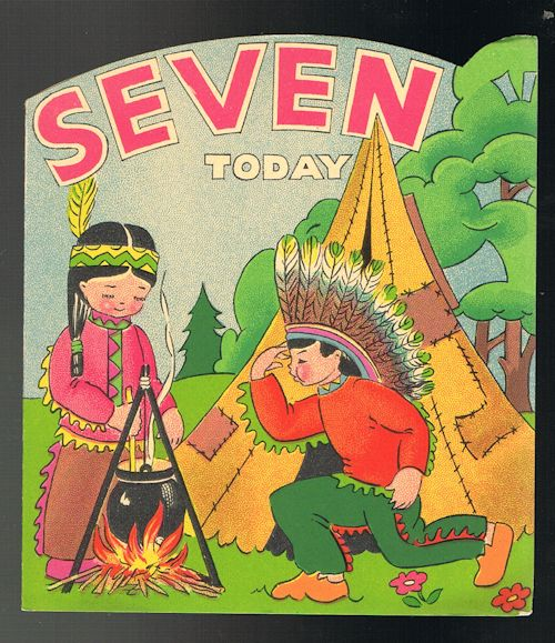 Image for Vintage Shaped Red Indians 7th Birthday Greetings Card