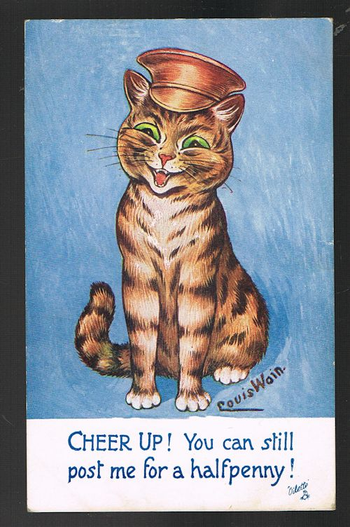 Image for Cheer Up Halfpenny Cat Postcard