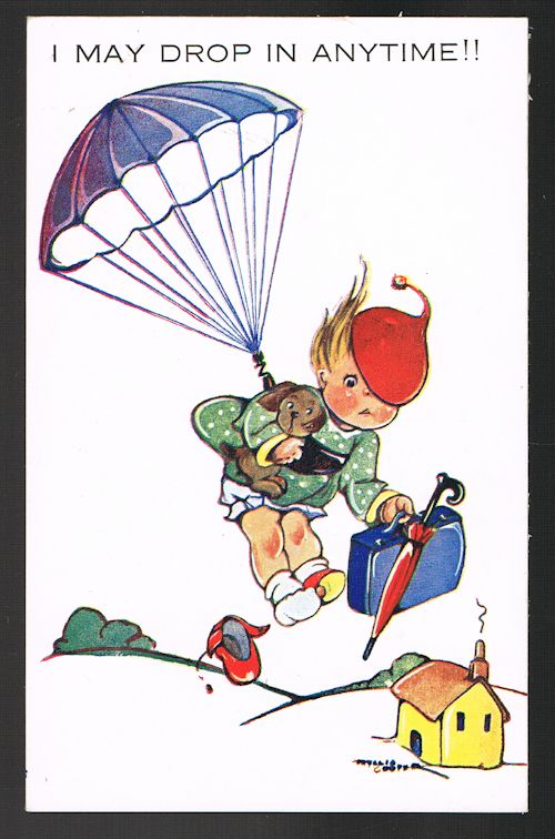 Image for I May Drop In Anytime Parachute Postcard