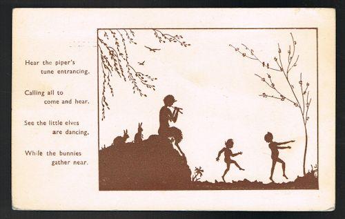 Hear the Piper's Tune Silhouette Postcard