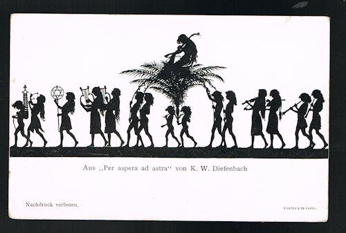 Per Aspera Ad Astra Silhouette Postcard