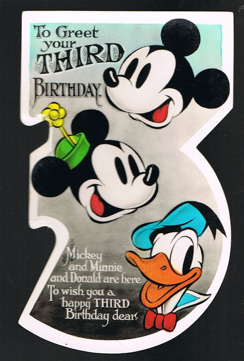 Image for Mickey Mouse Disney 3rd Birthday Shaped Greetings Card