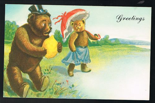 Image for Greetings Teddy Bear Repro Postcard