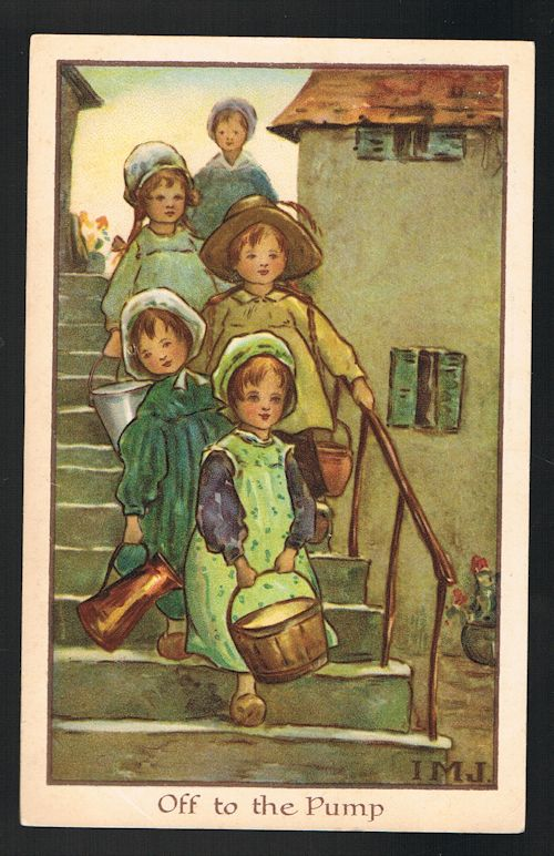 Image for Off to the Pump Dutch Children Postcard