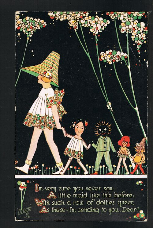 Image for A Row of Dollies Queer - Happy Land Postcard