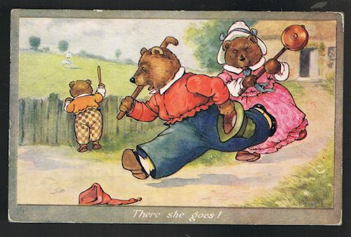 Image for There She Goes Three Bears Postcard
