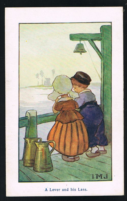 Image for A Lover and His Lass Dutch Children Postcard