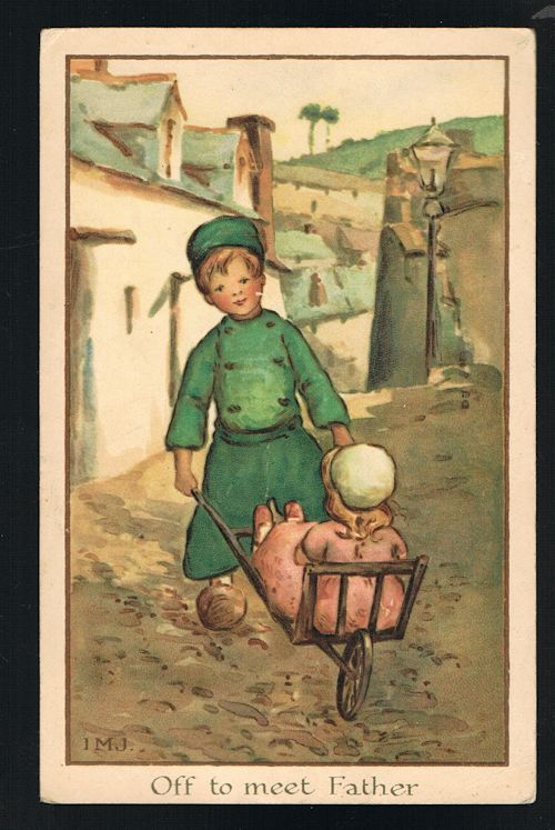 Image for Off to Meet Father Dutch Children Postcard
