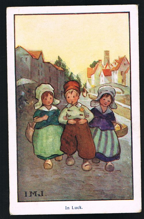 Image for In Luck Dutch Children Postcard