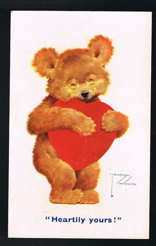 Image for Heartily Yours - Teddy Bear & Love Heart Postcard