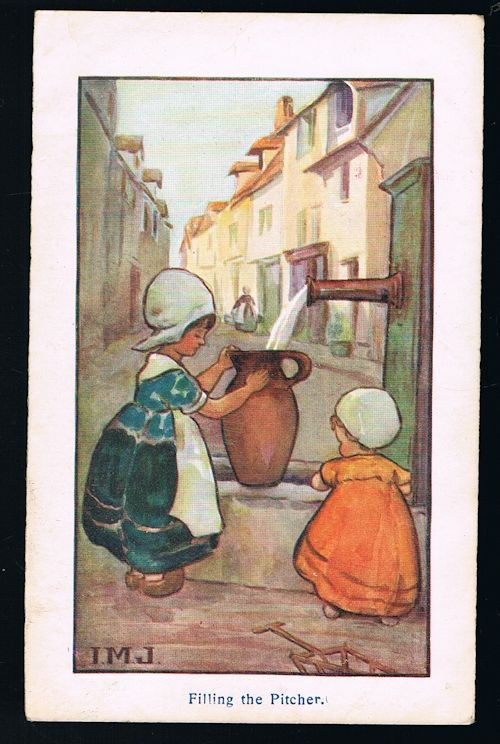 Image for Filling the Pitcher Dutch Children Postcard