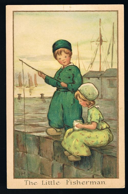 Image for The Little Fisherman Dutch Children Postcard