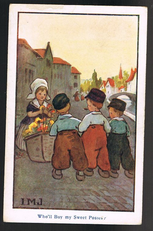 Image for Who'll Buy My Sweet Posies Dutch Children Postcard