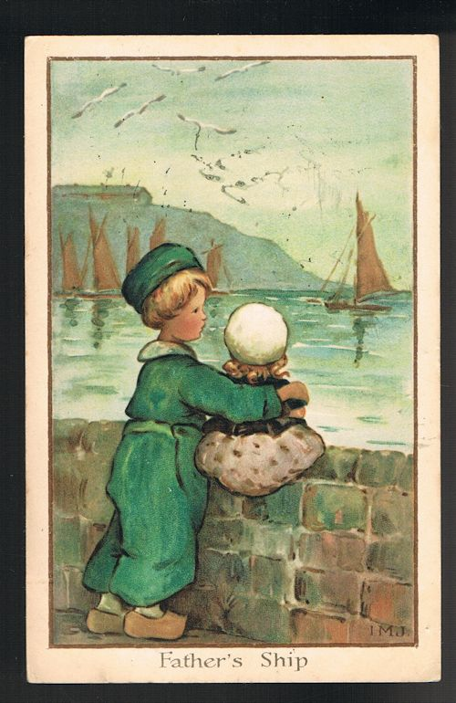 Image for Father's Ship Dutch Children Postcard