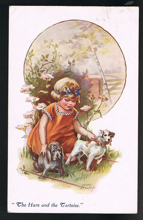 Image for The Hare and the Tortoise Dog Postcard