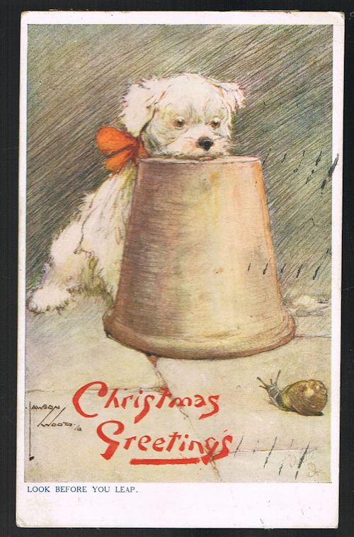 Image for Look Before You Leap - Dog & Snail Christmas Greetings Postcard
