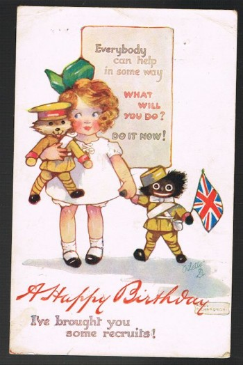Image for New Recruits Teddy Bear & Black Doll Military Birthday Postcard