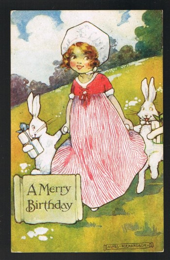 Image for A Merry Birthday Bunny Rabbit Postcard