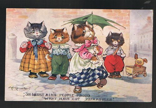 Image for Pairasoles Parasols Cats Postcard
