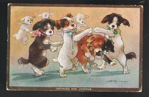 Image for Oranges and Lemons Dogs Postcard