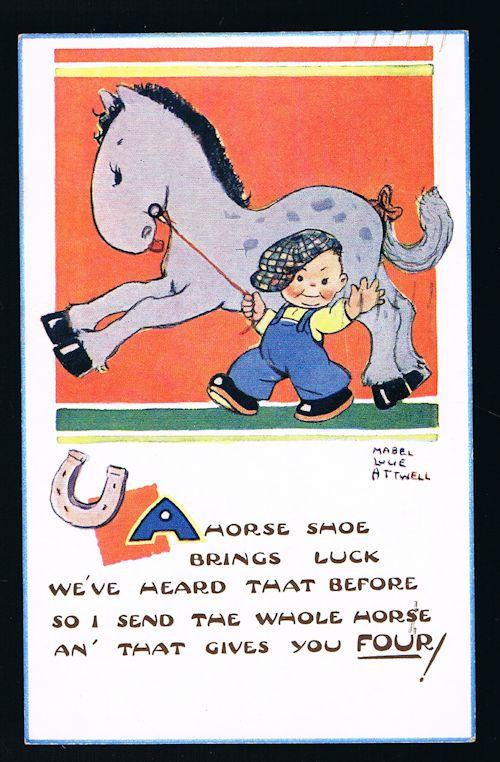 A Horse Shoe Brings Luck Postcard