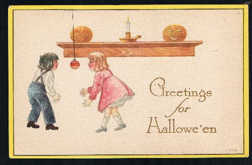 Image for Gibson Art Halloween Greetings Children Apple Bobbing Pumpkin JoL Postcard