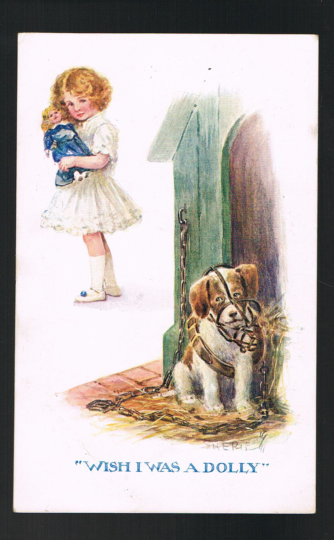 Image for Wish I Was a Dolly Postcard - Girl, Doll & Chained Muzzled Puppy Dog