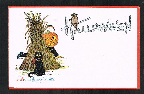 Image for Something Doin' Vintage Halloween Cat Pumpkin Postcard
