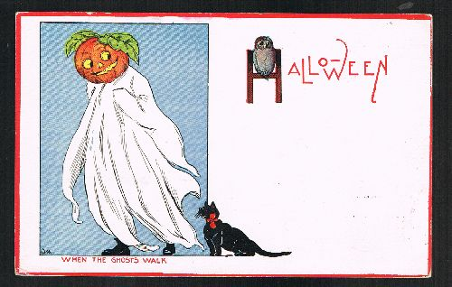 Image for When the Ghosts Walk Halloween Cat Pumpkin 1912 Postcard