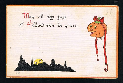Image for The Joys of Halloween Pumpkin Moon Vintage Postcard