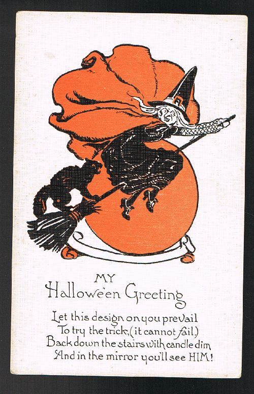 Image for Witch & Cat on Broomstick Halloween Postcard