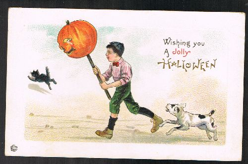 Image for Jolly Halloween Vintage Pumpkin on a Stick Embossed Postcard