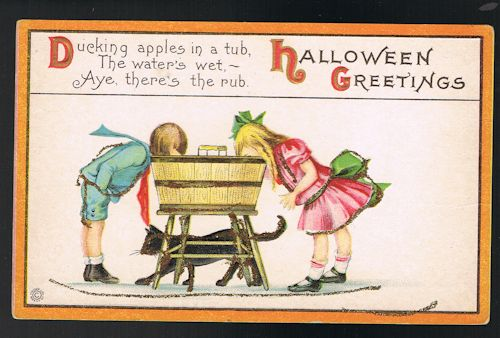 Image for Ducking Apples Halloween Embossed Glitter Postcard