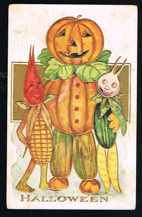 Image for Halloween Pumpkin & Vegetable Men Embossed Antique Postcard