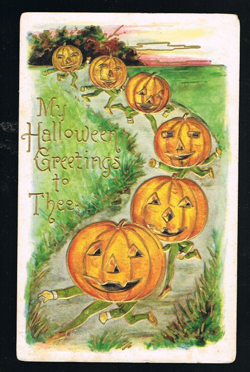Image for Halloween Pumpkin Pixie Men Embossed Antique Postcard
