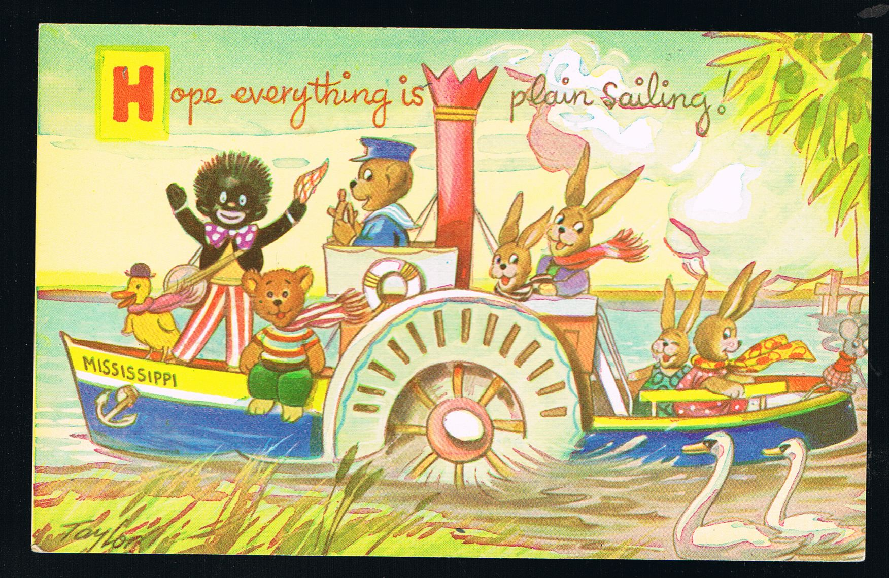 Image for Plain Sailing Paddle Steamer Teddy Bears & Black Doll Postcard
