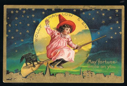 Image for Jolly Halloween Girl Witch Broomstick Cat Moon Stars Antique Embossed Postcard