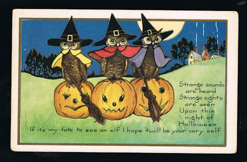 Image for Owls & Pumpkins Halloween Embossed Postcard