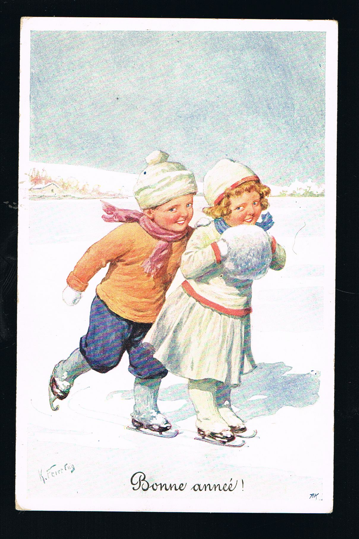 Image for New Year Christmas Ice Skating Children Postcard